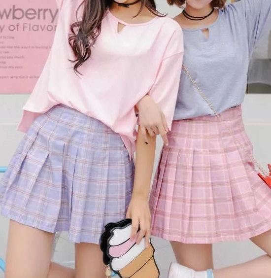 粉色和蓝色衣服搭配 容错率高 更显活泼俏皮