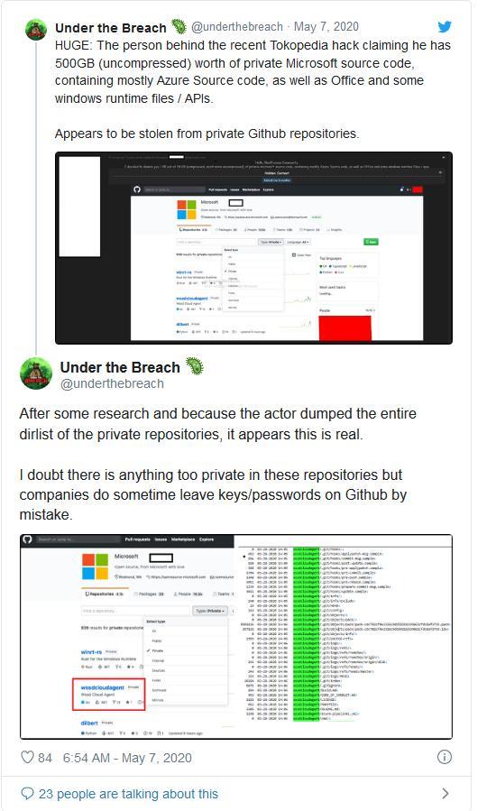 有黑客从微软私有GitHub库中窃取了63.2GB的源代码