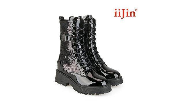 IIJIN 艾今 2021 秋季亮片马丁靴系列亮相,黑白两色